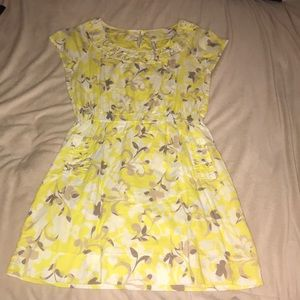 Yellow floral dress with pockets, Old Navy